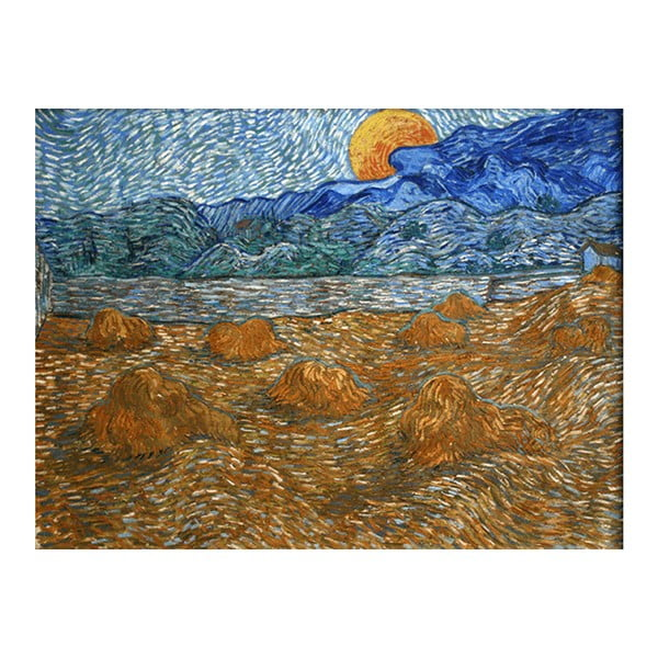 Obraz Vincenta van Gogha - Landscape with wheat sheaves and rising moon, 60x80 cm