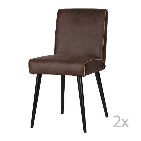 Sada 2 tmavě hnědých kožených židlí De Eekhoorn Revolution