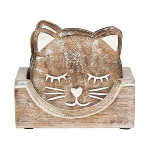 Sada 6 podtácků se stojanem Sass & Belle Carved Cat