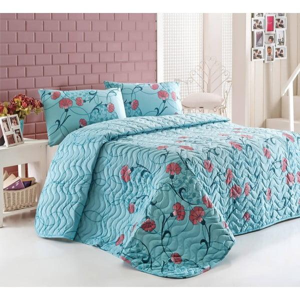 Sada prošívaného přehozu přes postel a dvou polštářů Sevval Mint, 200x220 cm
