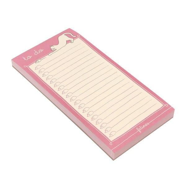 Růžový trhací zápisník Santoro London Felines I've Got Felines For You, 100 listů