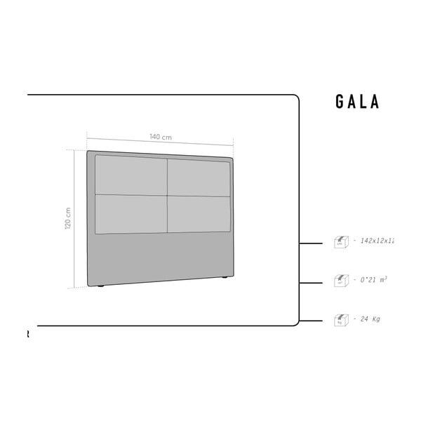 Šedé čelo postele HARPER MAISON Gala, 140 x 120 cm