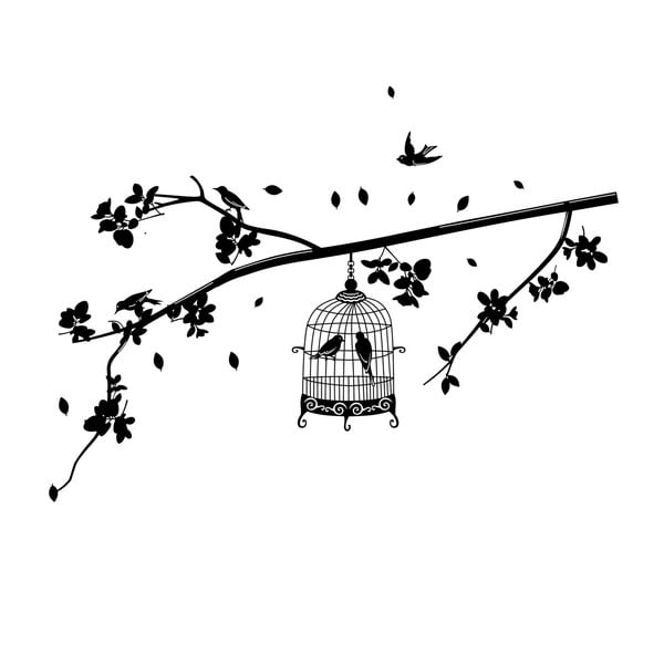 Dekorativní samolepka Cage Birds, 70x140 cm