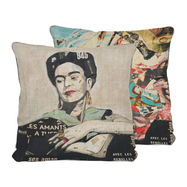 Obojstranná obliečka na vankúš s ľanovou prímesou Madre Selva Frida Collage, 45×45 cm