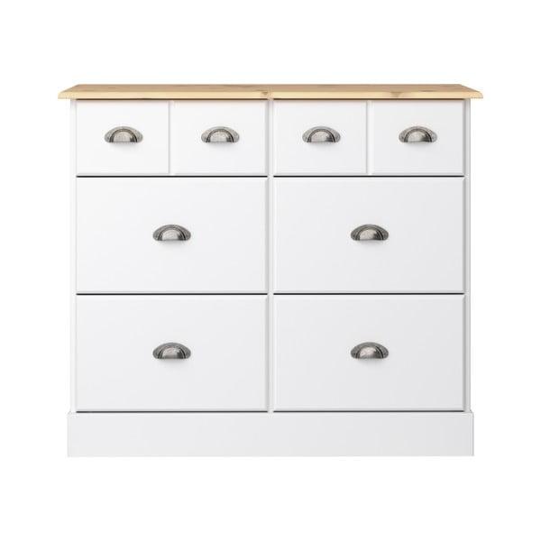 Comodă cu 6 sertare Steens Nola, 78,5 x 91,4 cm, alb - crem