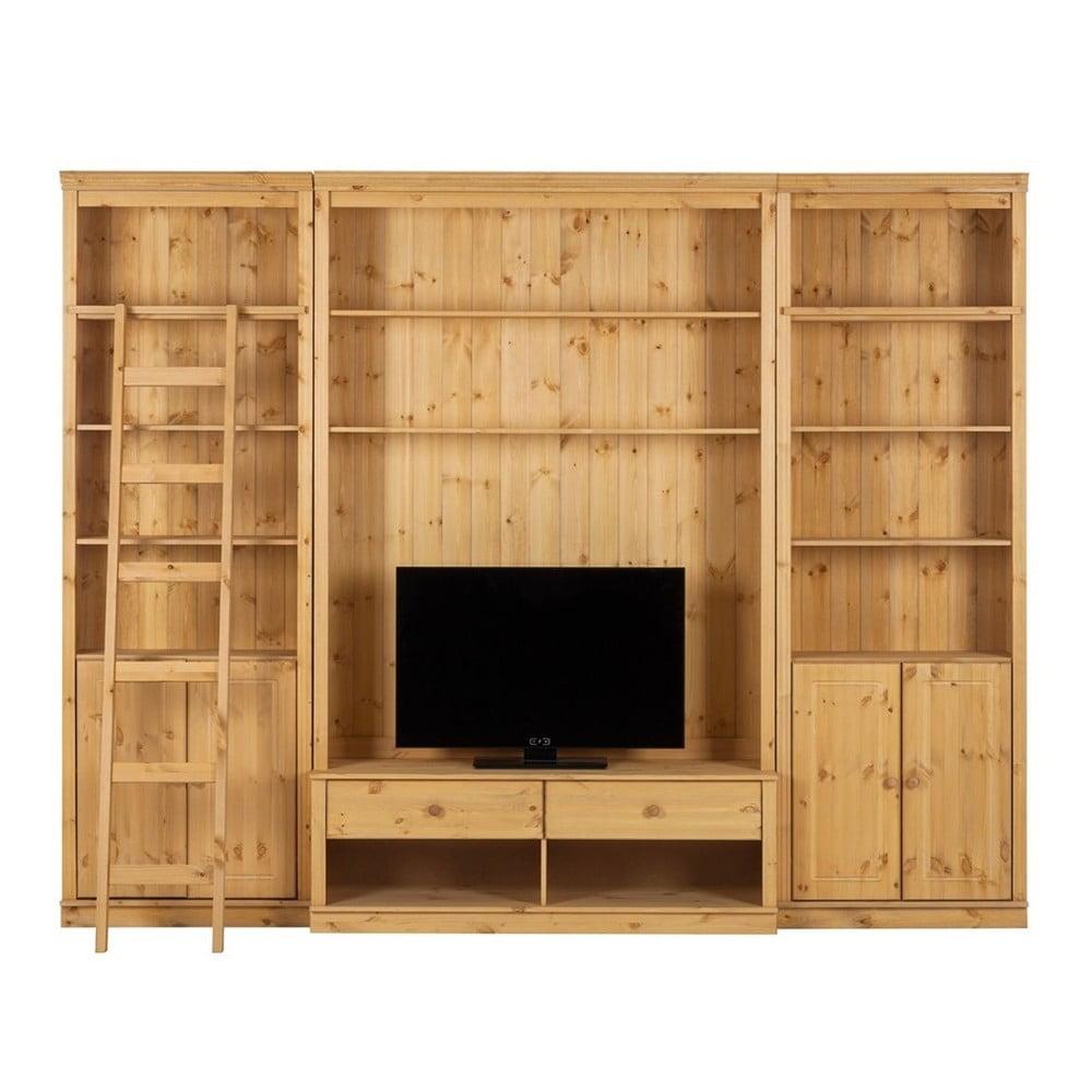 Mobilier tv din lemn de pin st raa annabelle 288 cm maro for Mobilier tv