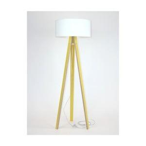 Žlutá stojací lampa s bílým stínítkem a transparentním kabelem Ragaba Wanda