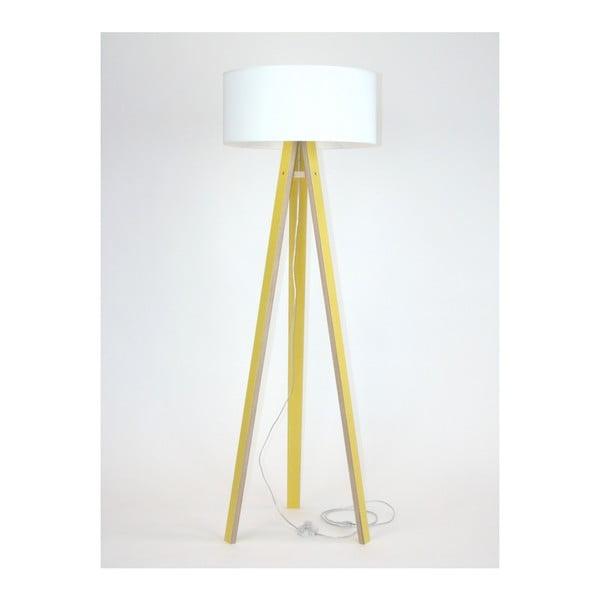 Wanda sárga állólámpa, fehér búrával és átlátszó kábellel - Ragaba