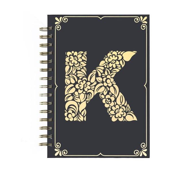 Zápisník Tri-Coastal Design Letter K, 120 stránek