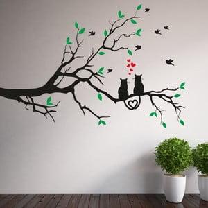 Samolepka na stěnu Větve a zamilované kočky, pravá strana