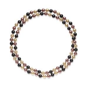 Hnědobílý perlový náhrdelník Pearls Of London Mystic, délka 90 cm