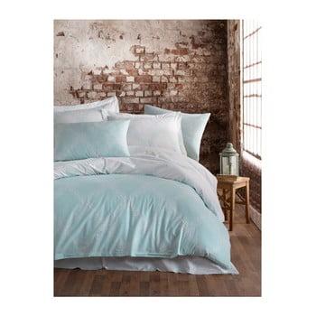 Lenjerie de pat cu cearșaf din bumbac ranforce, pentru pat dublu Mijolnir Nadine Mint, 160 x 220 cm de la Mijolnir