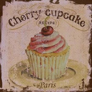 Obraz Třešňový cupcake, 28x28 cm