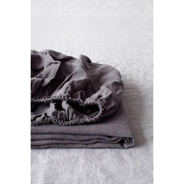 Ciemnoszare elastyczne prześcieradło lniane Linen Tales, 180x200 cm