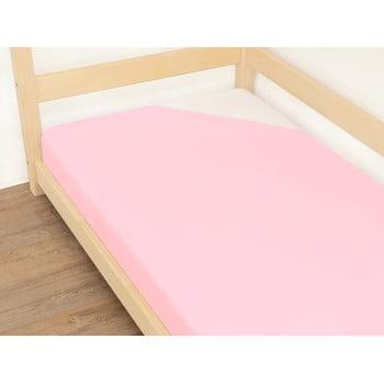 Cearșaf din bumbac Benlemi Jersey,120x190cm, roz imagine