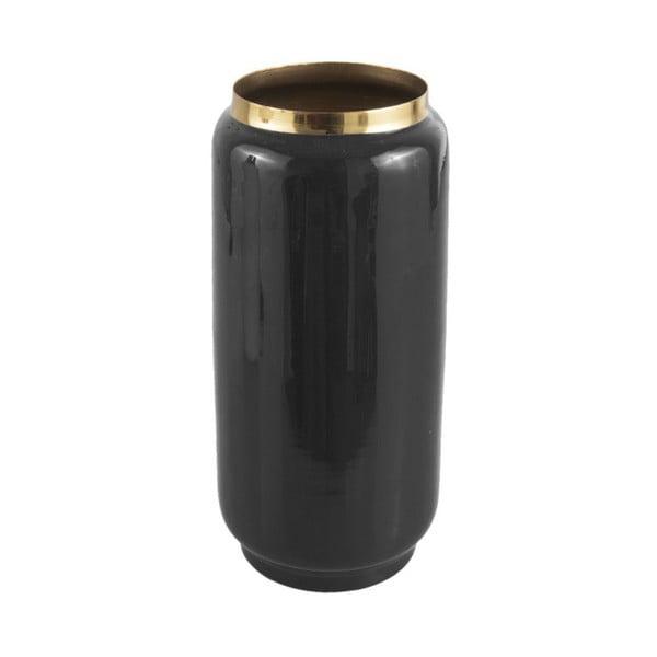 Čierna váza s detailom v zlatej farbe PT LIVING Flare, výška 27 cm