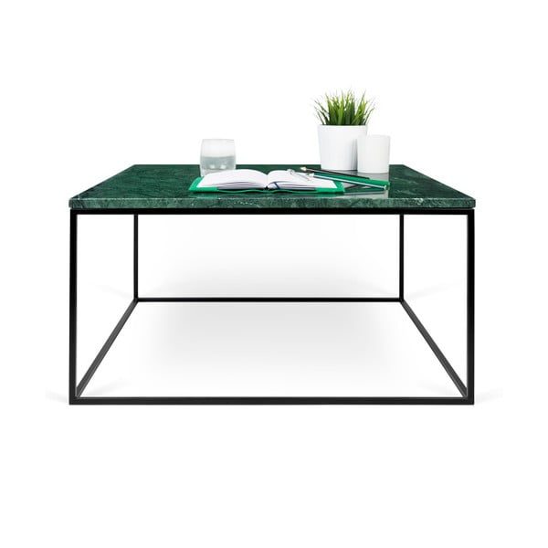 Zelený mramorový konferenční stolek s černými nohami TemaHome Gleam, 75 cm