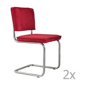 Set 2 scaune Zuiver Ridge Rib, roșu de la Zuiver
