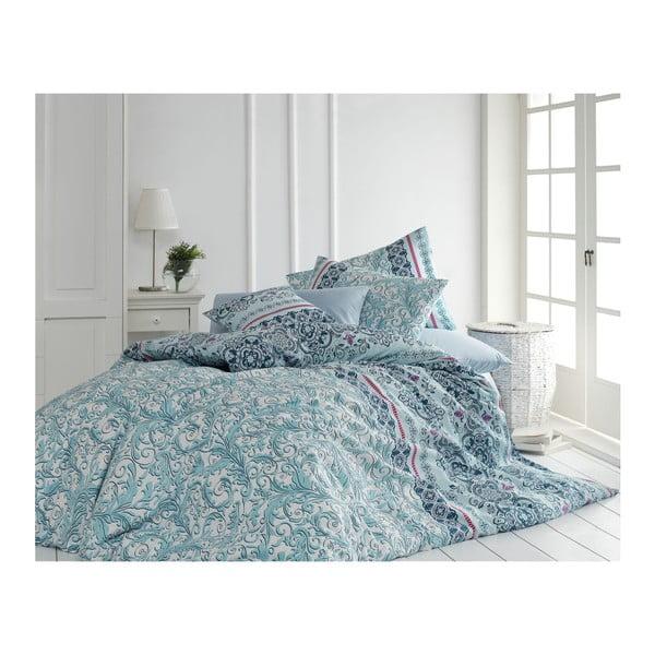 Lenjerie de pat cu cearșaf din bumbac și 2 fețe de pernă Mint, 200 x 220 cm