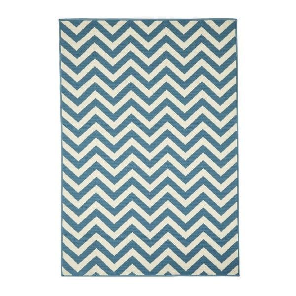 Světle modrý venkovní koberec Floorita Waves, 133 x 190 cm