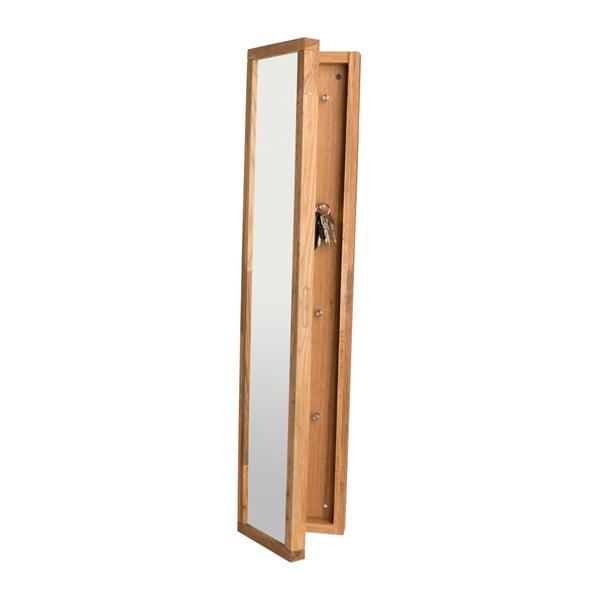 Přírodní dubová skříňka na klíče se zrcadlem Rowico Sol