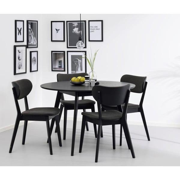 Černý jídelní stůl z jasanového dřeva Folke Yumi, ∅115cm