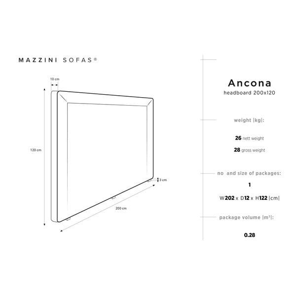 Světle šedé čelo postele Mazzini Sofas Ancona, 200 x 120 cm