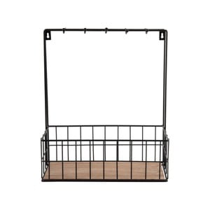 Organizator de perete Present Time Kitchen Rack, negru