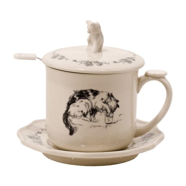 Hrnek na čaj s podšálkem a sítkem Kitty