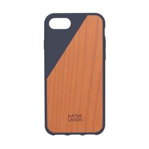 Tmavě modrý obal na mobilní telefon s dřevěným detailem pro iPhone 7 a 8 Native Union Clic Wooden