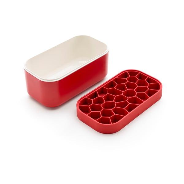 Červený chladící box s tvořítkem na led Lékué Ice