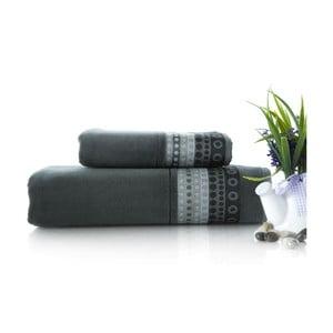 Set dvou ručníků Golf Gray, 70x140 a 50x90 cm
