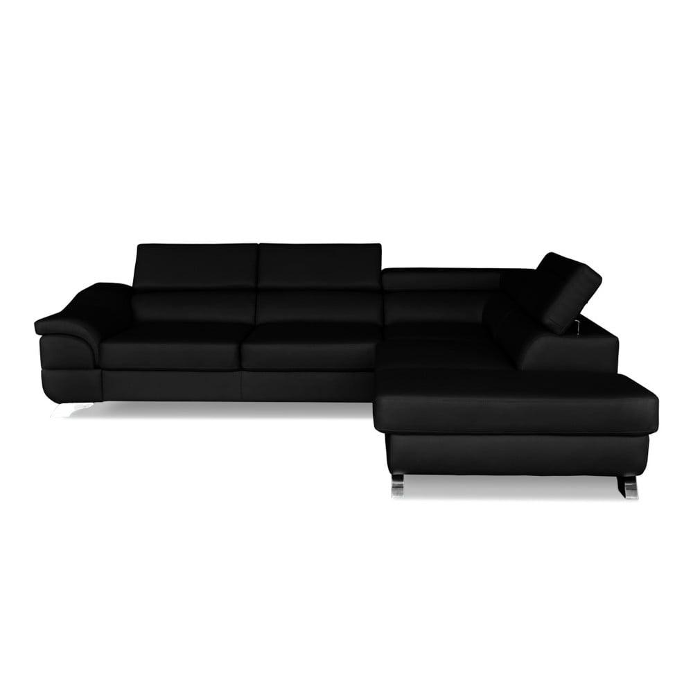 Černá kožená rohová rozkládací pohovka Windsor & Co. Sofas Omnikron, pravý roh