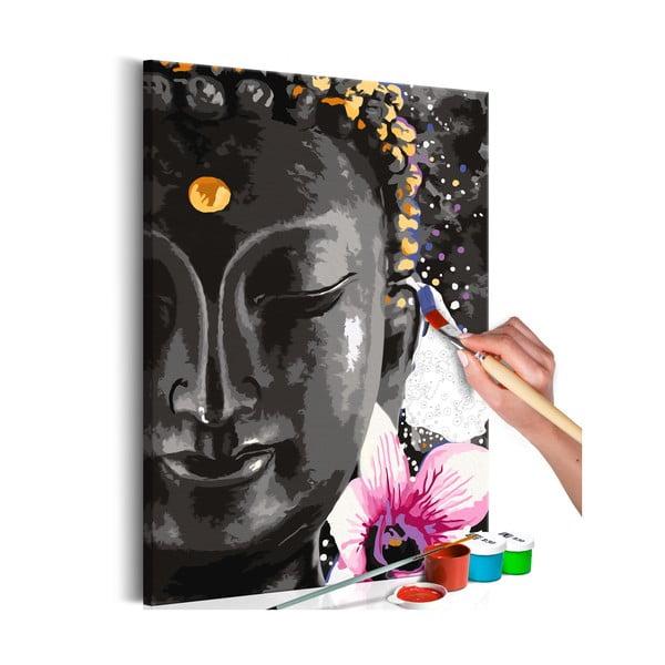 DIY set na tvorbu vlastného obrazu na plátne Artgeist Buddha and Flower, 60×40 cm