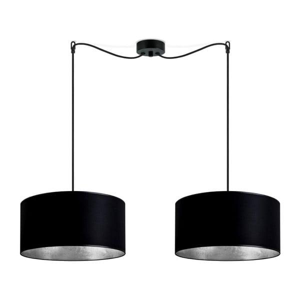 Mika fekete dupla függőlámpa, ezüstszínű lámpabelsővel - Sotto Luce