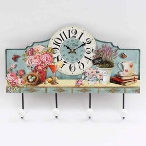Dřevěné nástěnné hodiny Flowers s háčky, 40x28 cm