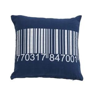 Modrý polštář Novita Bardcode, 45x45cm