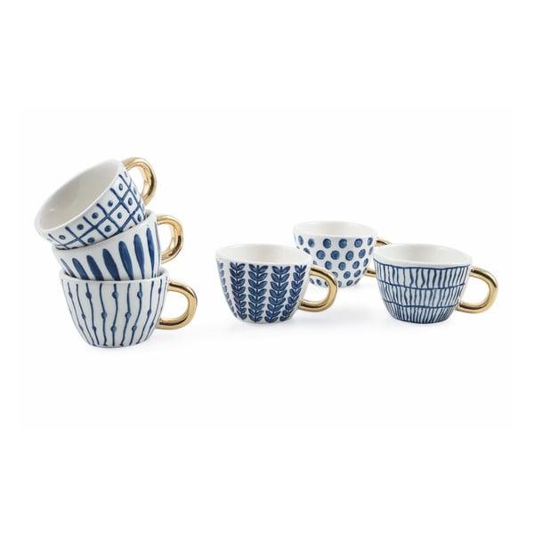 Sada 6 modro-bílých šálků na kávu z kameniny Villad'Este Masai, 90 ml
