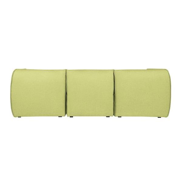 Limetkově zelená modulová třímístná pohovka s lenoškou Norrsken Ollo