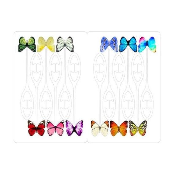 Komplet 12 etykiet do kieliszków Kikkerland Butterfly