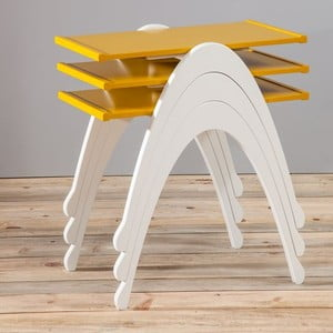 Sada 3 stolků Vega Nesting Yellow/White