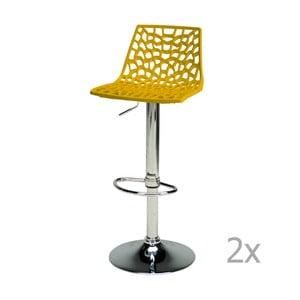 Sada 2 žlutých nastavitelných barových židlí Castagnetti Gass