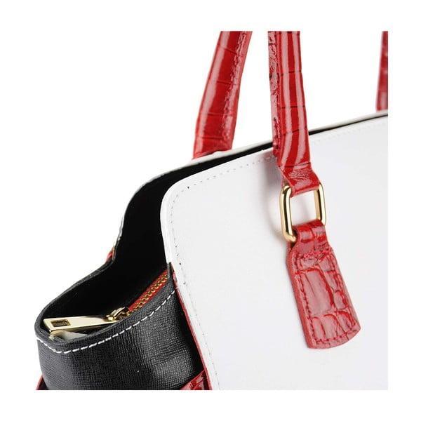 Kožená kabelka Marta White & Red & Black