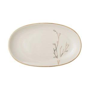 Bílý keramický talířek Bloomingville Rio, 21,5 x 13 cm