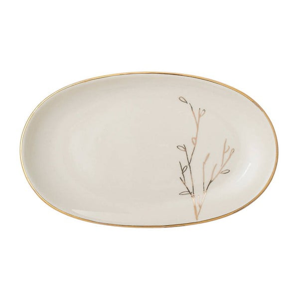 Biały talerz ceramiczny Bloomingville Rio, 21,5x13 cm