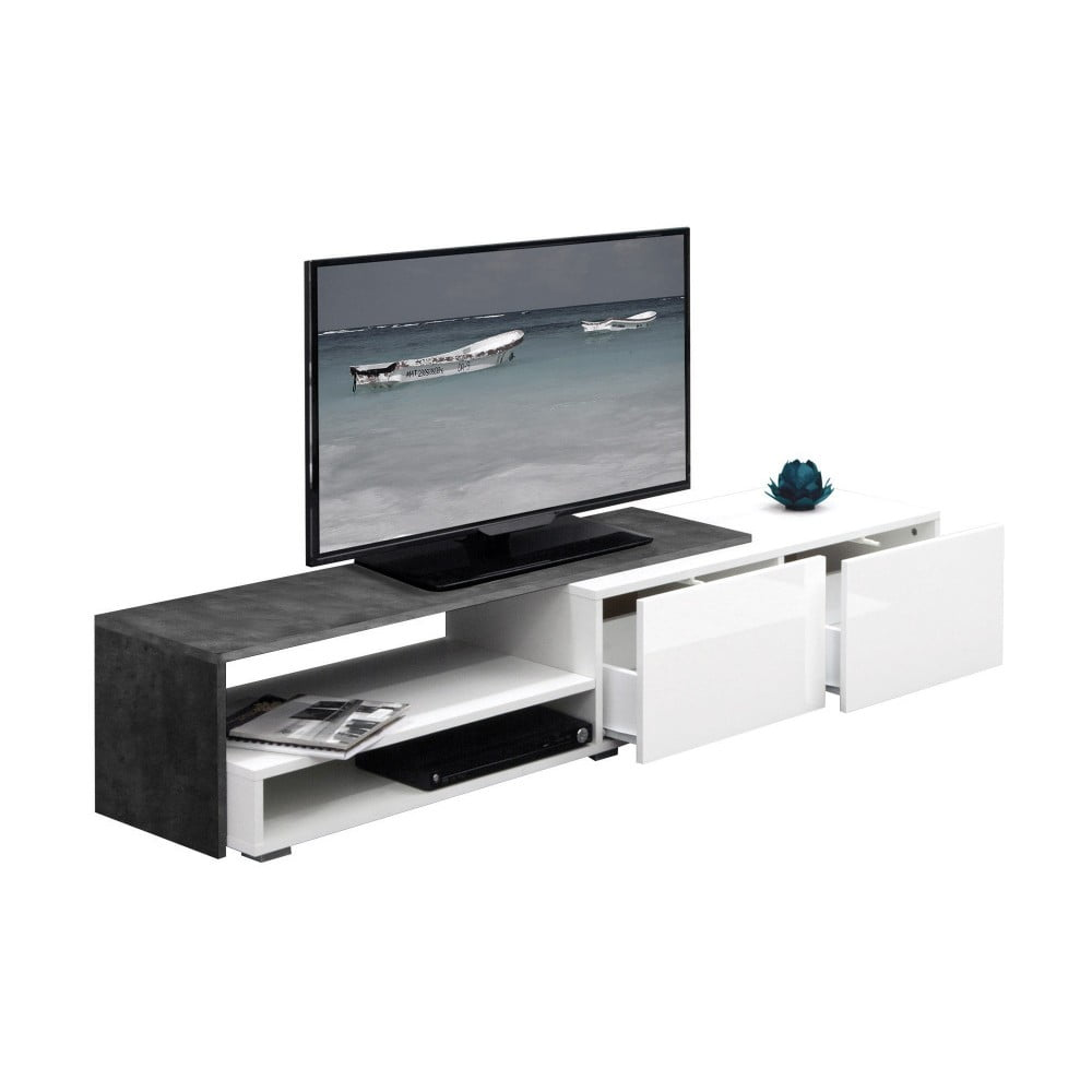 Šedý televizní stolek s bílými zásuvkami Symbiosis Albert, šířka168cm