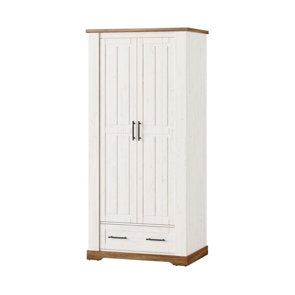 Bílá dvoudveřová šatní skříň Szynaka Meble Country