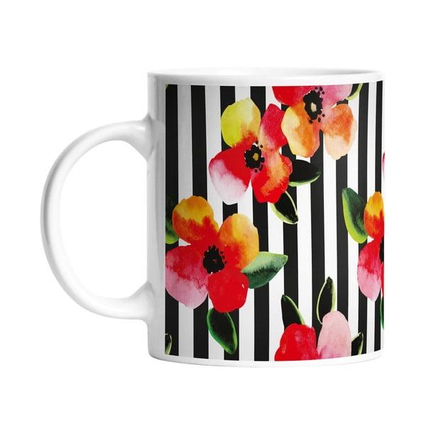 Keramický hrnek Stripes and Flowers, 330 ml