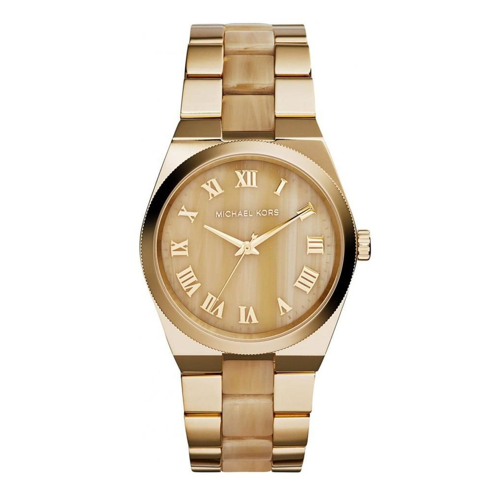 238fdb6e65e Dámské hodinky zlaté barvy s efektem dřeva Michael Kors