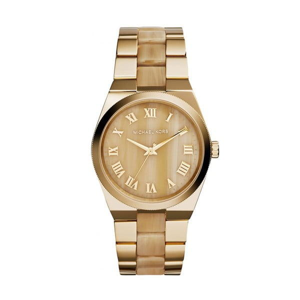 Dámské hodinky zlaté barvy s efektem dřeva Michael Kors